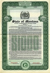 State of Montana Water Conservation Revenue Bond Series W - Montana 1941