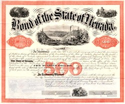 State of Nevada Bond signed by Nevada's First  Governor, Henry Goode Blasdel - 1865