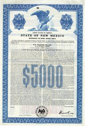 State of New Mexico $5000 Severance Tax Bond  - Bruce King as Governor - New Mexico 1980