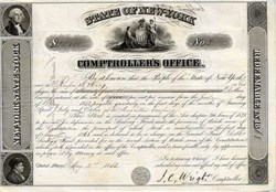 State of New York Comptroller's Office issued to Rufus H. King - New York 1853