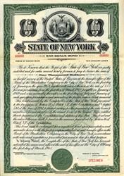 State of New York - Specimen War Bonus Bond - 1948
