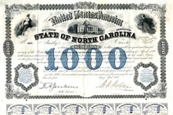 State of North Carolina Defaulted Reconstruction Bond signed by Impeached Governor,  William Woods Holden - 1869