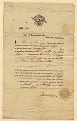 Rhode Island and Providence Plantations Seaman's Protection papers signed (Early Passport)  - 1809