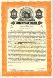 State of West Virginia Coupon Road Bond - West Virginia 1948