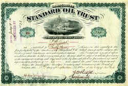 Standard Oil Trust #485  - Signed by John. D. Rockefeller, Henry Flagler and Jabez Abel Bostwick in 1882