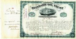 ' Standard Oil Trust Stock Certificate #280 signed by John. D. Rockefeller (Twice), Henry M. Flagler, William G. Warden  and Jabez Abel Bostwick - 1882