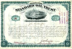 Standard Oil Trust  (low serial number #203) issued to John Huntington - Signatures of John Huntington, John. D. Rockefeller, Henry M. Flagler and Jabez Abel Bostwick 1882