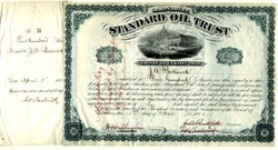 ' Standard Oil Trust (low serial number #53) signed by John. D. Rockefeller, Henry M. Flagler  and Jabez Abel Bostwick (3 times) 1882