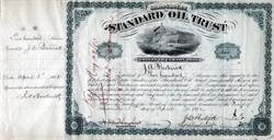 ' Standard Oil Trust (low serial number #80) signed by John. D. Rockefeller, Henry M. Flagler  and Jabez Abel Bostwick (3 times) 1882