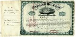 Standard Oil Trust Stock Certificate Low Serial Number #37 signed by John. D. Rockefeller, Henry M. Flagler, Civil War General, Oliver H. Payne and Jabez Abel Bostwick - 1882