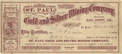 St. Paul Gold and Silver Mining Company - Napa County, California 1875
