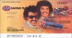 STP NASCAR Racing Team Check - Richard and Kyle Petty on check 1981