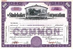 Studebaker Corporation with Paul Gray Hoffman as President - Scarce Specimen Stock Certificate