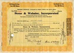 Stone & Webster Stock handsigned by CBS Radio Pioneer William S. Paley - Delaware 1929
