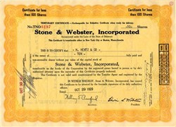 Stock Market Crash Certificate issued on October 29, 1929 Black Tuesday - Stone & Webster, Incorporated
