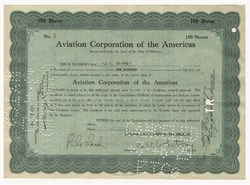 Aviation Corporation of the Americas signed by Cornelius Vanderbilt Whitney and Juan Trippe - Delaware 1928