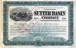 Sutter Basin Company issued to and signed by J. Ogden Armour - California 1913