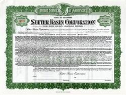 Sutter Basin Corporation Six Per Cent Income Bond (Named after John Sutter of Sutter's Mill Fame) - Delaware 1928