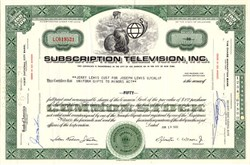 Subscription Television 1965 - Issued to and signed by Jerry Lewis