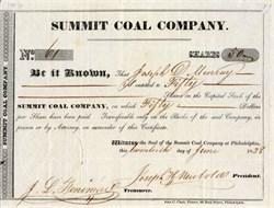 Summit Coal Company - Pennsylvania 1838