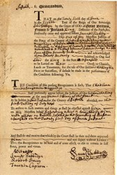 Court Appearence Document for Rioting on Naddles Island - Boston, Suffolk County  1768