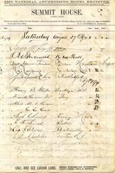 Register from the Summit House, Athol, Massachusetts - 1874