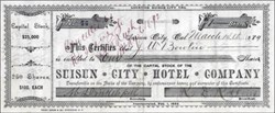 Suisun City Hotel Company 1889 - Solano County, California
