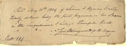 Susquehanna & Lehigh Turnpike Road Stock Payment Receipt signed by Levi Hollingsworth - 1804