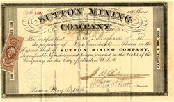 Sutton Mining Company - Township of Sutton, county of Brome, district of Bedford in the Province of Canada - 1864