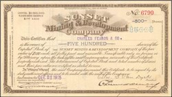 Sunset Mining & Development Company Nye, Bullfrog - 1913 - Nevada