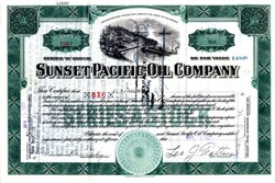 Sunset Pacific Oil Company signed by J.V. Baldwin - Delaware 1929