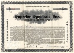 Superior Syndicate, Inc. - New York 1935