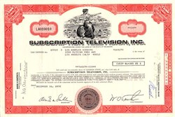 Subscription Television Stock Certificate issued to the Los Angeles Dodgers - Delaware 1970