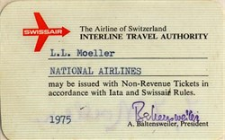 Swiss Air Airline Pass signed by Armin Baltensweiler as President - Switzerland 1975