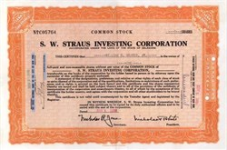 S. W. Straus Investing Corporation 1930