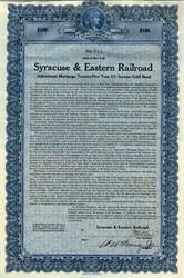 Syracuse & Eastern Railroad (Gold Bond) - New York 1923