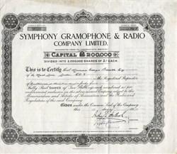 Symphony Gramophone & Radio Company Limited - England 1929