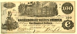 Confederate Currency $100 Confederate Currency  / Civil War Money  T-39 - Richmond  1862