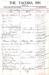 Hotel Register from Tacoma Inn - Lewiston, Maine  1925