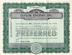 Taylor Engines, Inc. - Reno, Nevada 1960