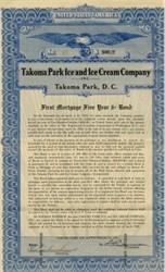 Takoma Park Ice and Ice Cream Company Bond, Washington D.C. 1928