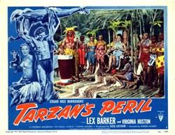 Tarzan's Peril Lobby Card Starring Lex Barker and Virginia Huston - 1951