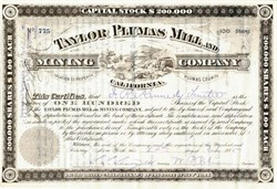 Taylor Plumas Mill and Mining Company - Plumas County, California 1886