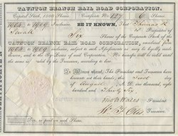 Taunton Branch Rail Road Corporation - Massachusetts 1836