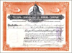Tecopa Consolidated Mining Company - Tecopa, Inyo. Death Valley , California - 1925