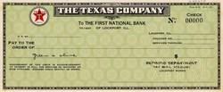 Texas Company (Texaco) Specimen Check