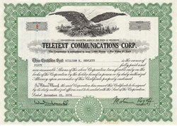 Teletext Communications Corp. - Delaware 1976 - Issued to William R. Hewlett (cofounder of Hewlett Packard)