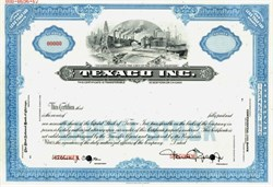 Texaco, Inc. Specimen Stock Certificate ( Pre Chevron Merger ) - 1967