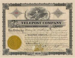 Telepost Company 1920 - Signed by H. Lee Sellers
