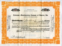 Television Manufacturing Company of America, Inc. signed by A. Pollak - 1932